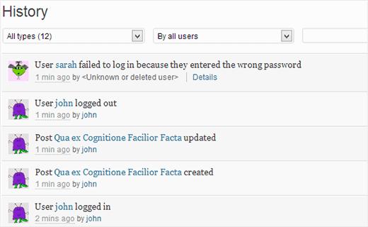 مشاهده فعالیت کاربران در وردپرس با دو افزونه Audit Trail و Simple History